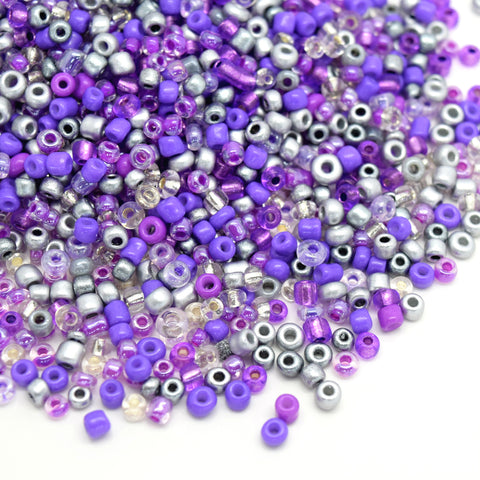 STAR BEADS: 15,000PCS SILVER LINED OPAQUE GLASS SEED BEADS 2X3MM (7/0) - PURPLE / SILVER / CLEAR - Seed Beads