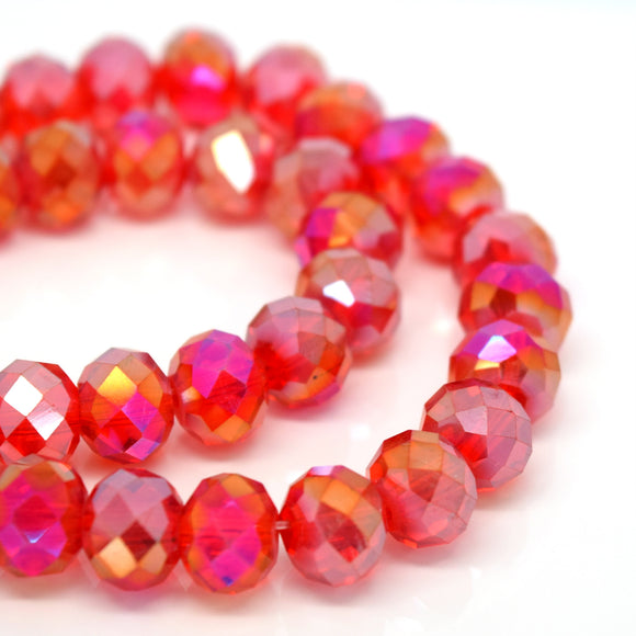 STAR BEADS: FACETED RONDELLE GLASS BEADS - SIAM AB - Rondelle Beads