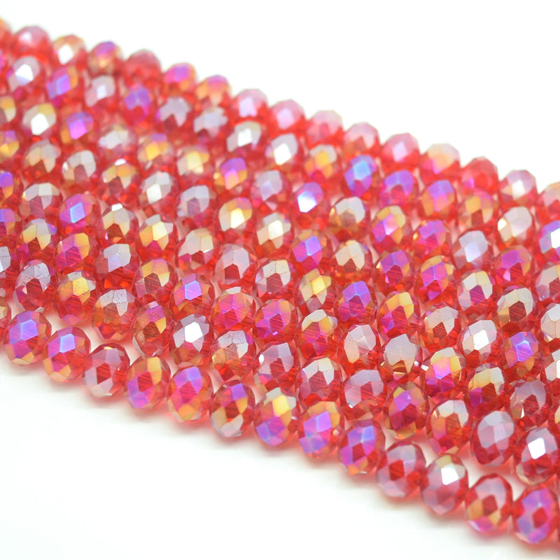 Faceted Rondelle Glass Beads - Siam AB