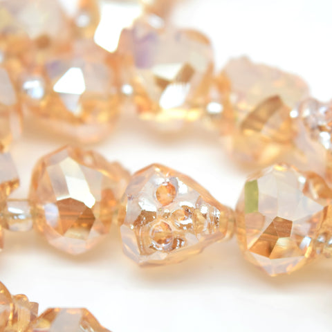 2 X FACETED GLASS CRYSTAL GOLDEN CHAMPAGNE SKULL BEADS 14MM