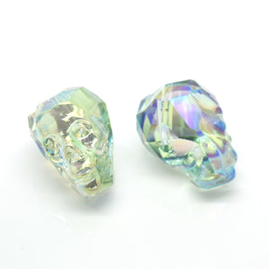 STAR BEADS: 2 x Faceted Glass Skull Beads 22mm - Light Green AB - Skull Beads