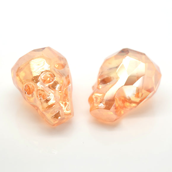 STAR BEADS: 2 x Faceted Glass Skull Beads 22mm - Light Orange Lustre - Skull Beads