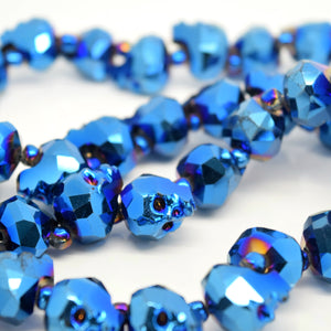 STAR BEADS: 2 x Faceted Glass Skull Beads 14mm,22mm - Metallic Blue - Skull Beads