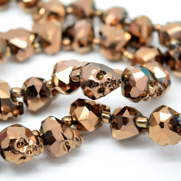 STAR BEADS: 2 x Faceted Glass Skull Beads 14mm,22mm - Metallic Bronze - Skull Beads