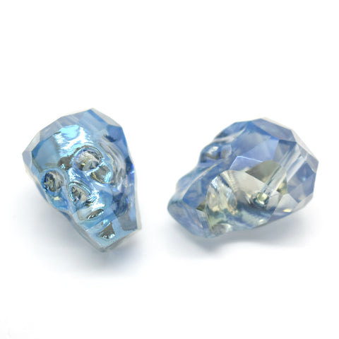 2 X FACETED GLASS CRYSTAL SILVER / BLUE SKULL BEADS 22MM