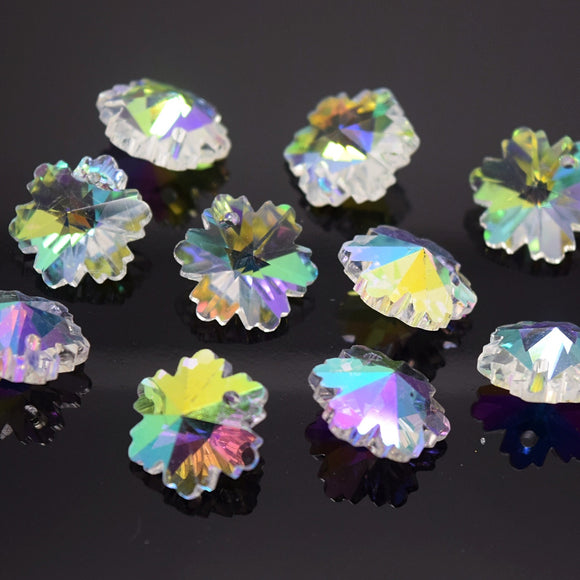10 x Faceted Glass Snowflake Pendants 14mm - Clear AB