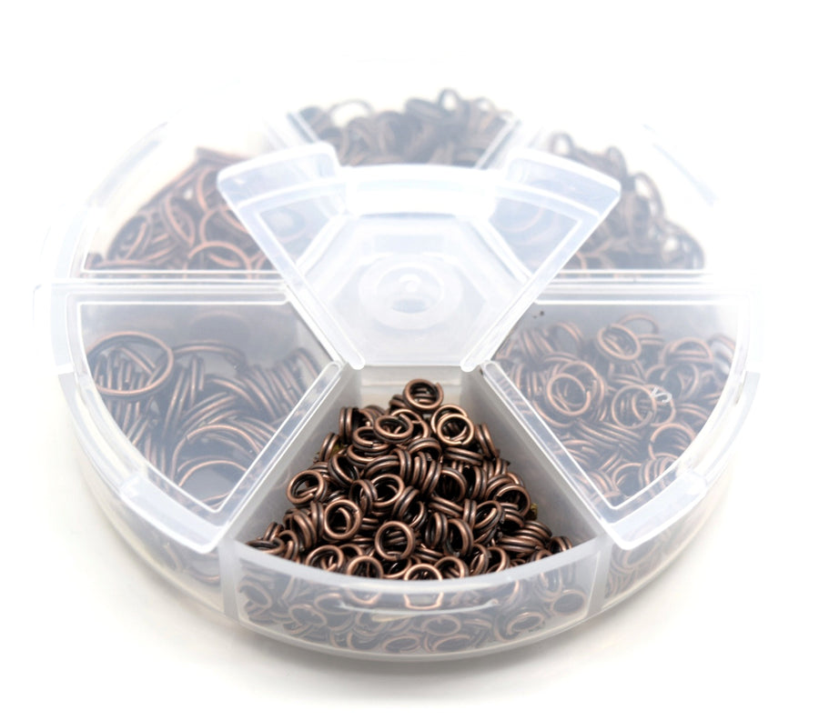 Box Of Iron Antique Copper Plated Split Rings 4-10mm Approx 1500Pcs