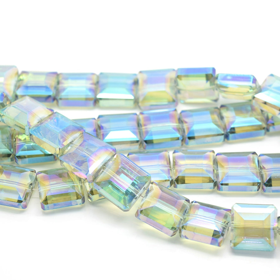 STAR BEADS: 10 x Square Cube Faceted Glass Beads 13x8mm - Green AB - Cube Beads
