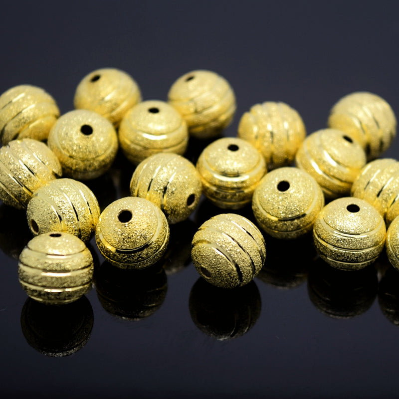 STAR BEADS: 20 x Round Brass Stardust Striped Beads 10mm - Gold - Alloy Beads