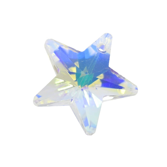 4 x Faceted Glass Star Pendants 18mm Clear AB