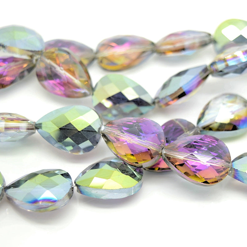 STAR BEADS: 5 x Teardrop Faceted Glass Beads 14x18x7mm - Grey / Metallic Green - Teardrop Beads