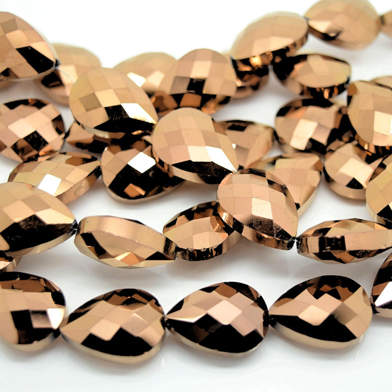 STAR BEADS: 5 x Teardrop Faceted Glass Beads 14x18x7mm - Metallic Bronze - Teardrop Beads