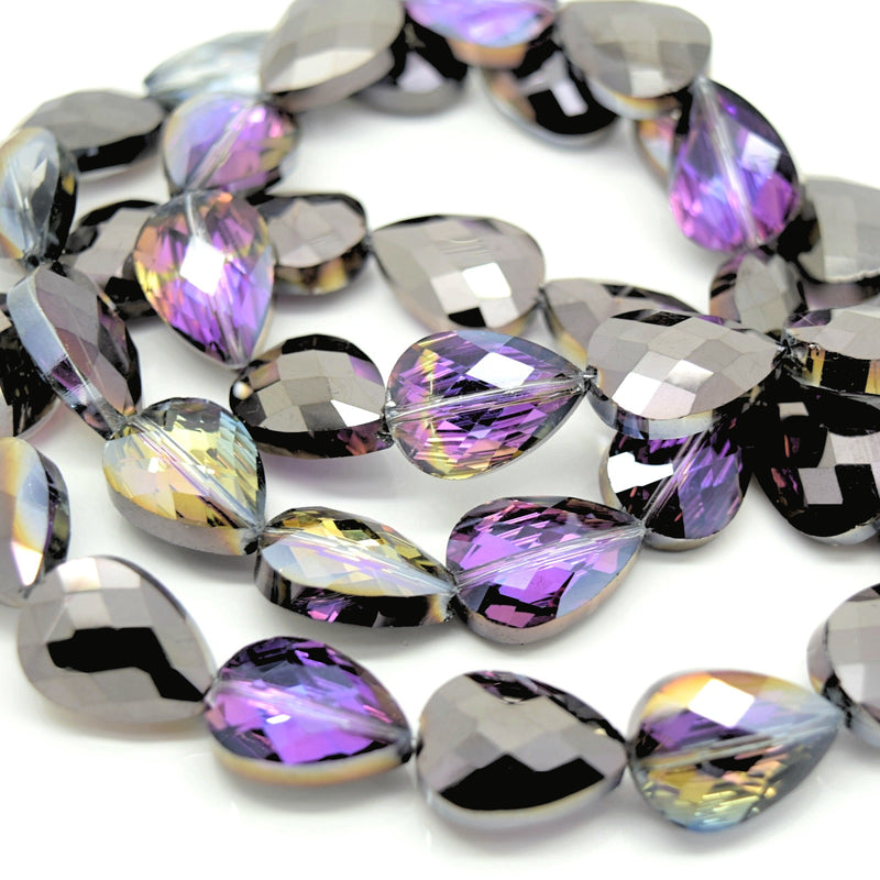 STAR BEADS: 5 x Teardrop Faceted Glass Beads 14x18x7mm - Violet / Metallic Jet - Teardrop Beads
