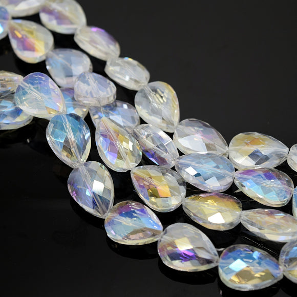 STAR BEADS: 5 x Teardrop Faceted Glass Beads 14x18x7mm - Clear AB - Teardrop Beads
