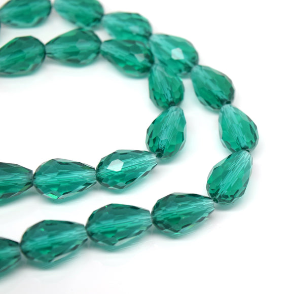 Faceted Teardrop Glass Beads  - Emerald