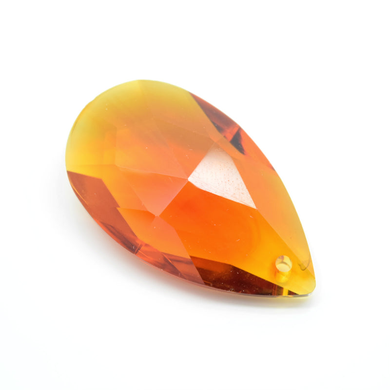 STAR BEADS: 2 x Teardrop Faceted Glass Pendants 38mm - Amber - Pendants
