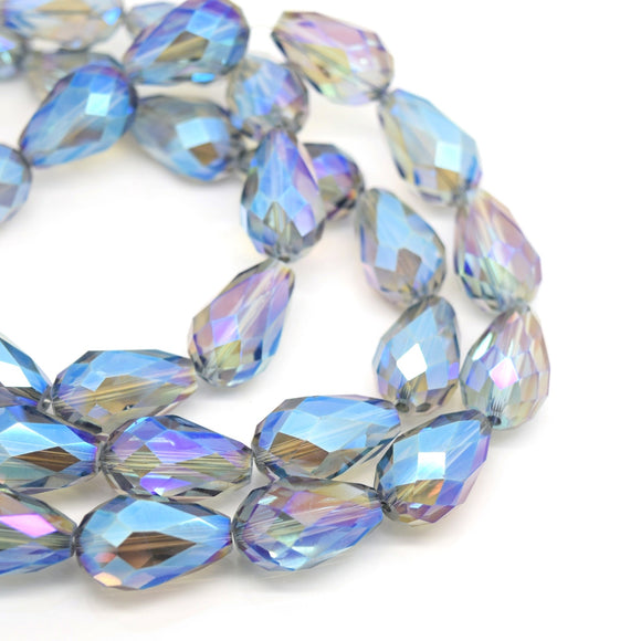 Faceted Teardrop Glass Beads - Grey AB