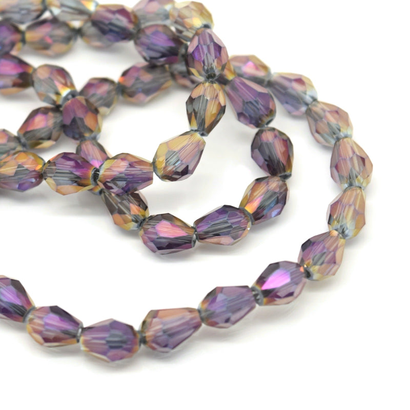 70 x Faceted Teardrop Glass Beads Grey / Metallic Purple - 5x7mm
