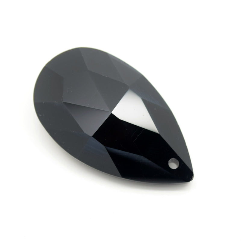 STAR BEADS: 2 x Teardrop Faceted Glass Pendants 38mm - Jet - Pendants