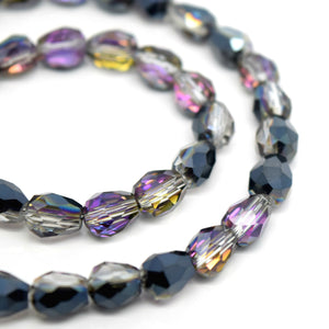 Faceted Teardrop Glass Beads Jet/Grey/Violet - 5x7mm