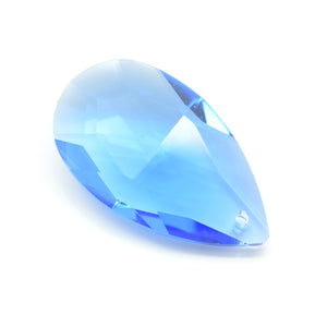 STAR BEADS: 2 x Teardrop Faceted Glass Pendants 38mm - Light Sapphire - Pendants