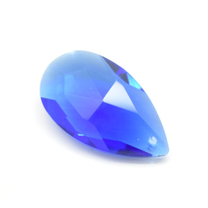STAR BEADS: 2 x Teardrop Faceted Glass Pendants 38mm - Sapphire - Pendants