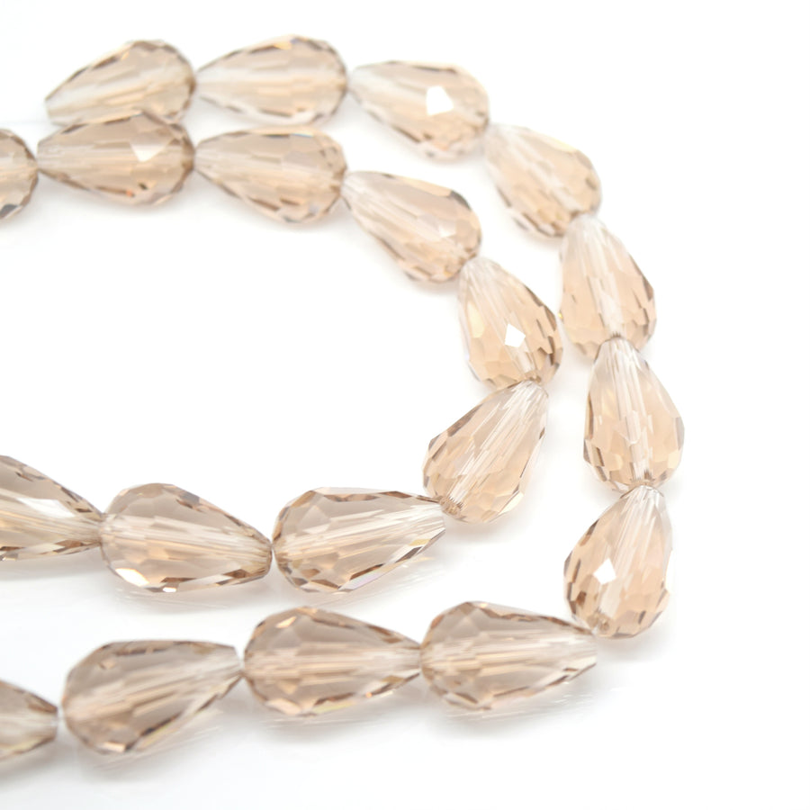 Faceted Teardrop Glass Beads  - Taupe