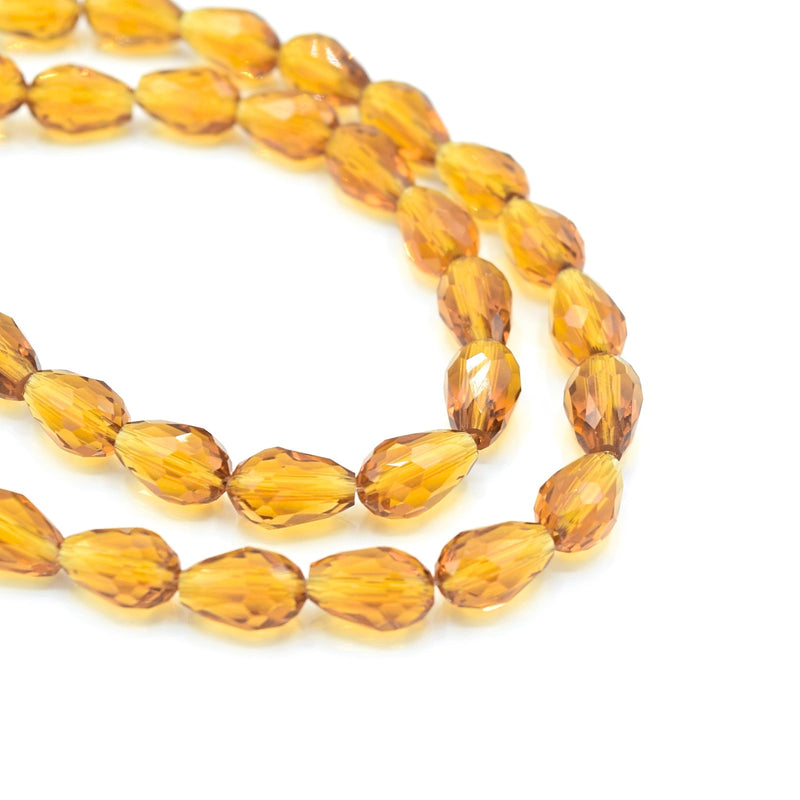 Faceted Teardrop Glass Beads  - Topaz