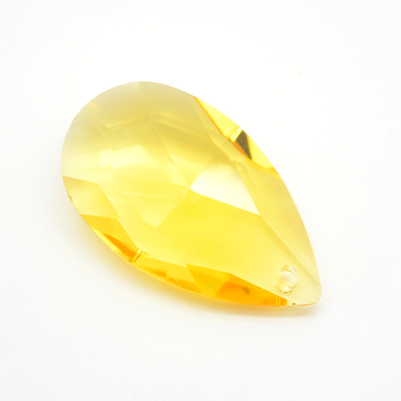 STAR BEADS: 2 x Teardrop Faceted Glass Pendants 38mm - Yellow - Pendants