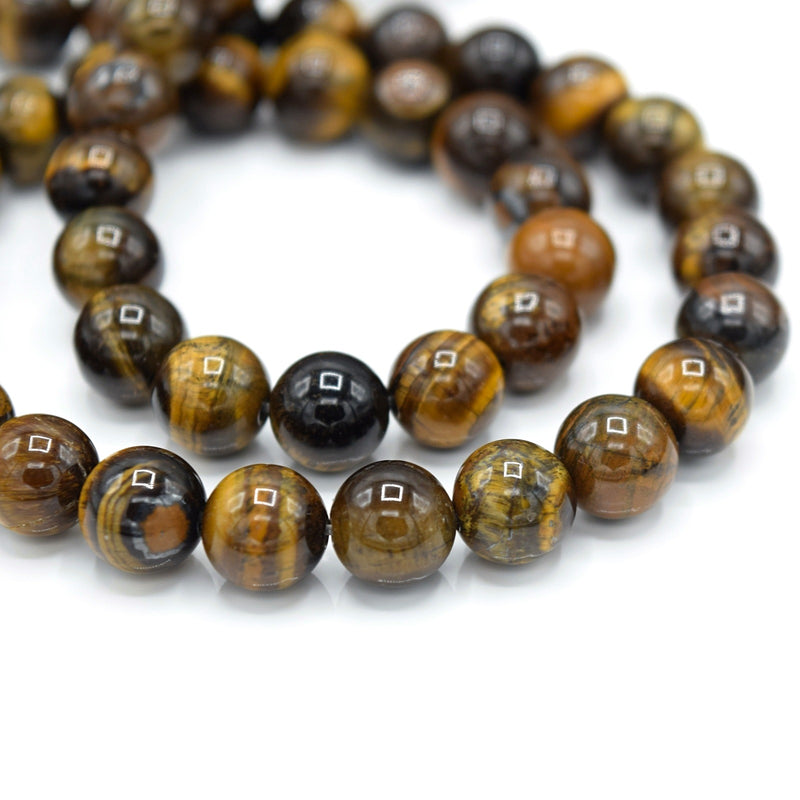 48 x Round 8mm Strand Gemstone Beads - Natural Tiger Eye