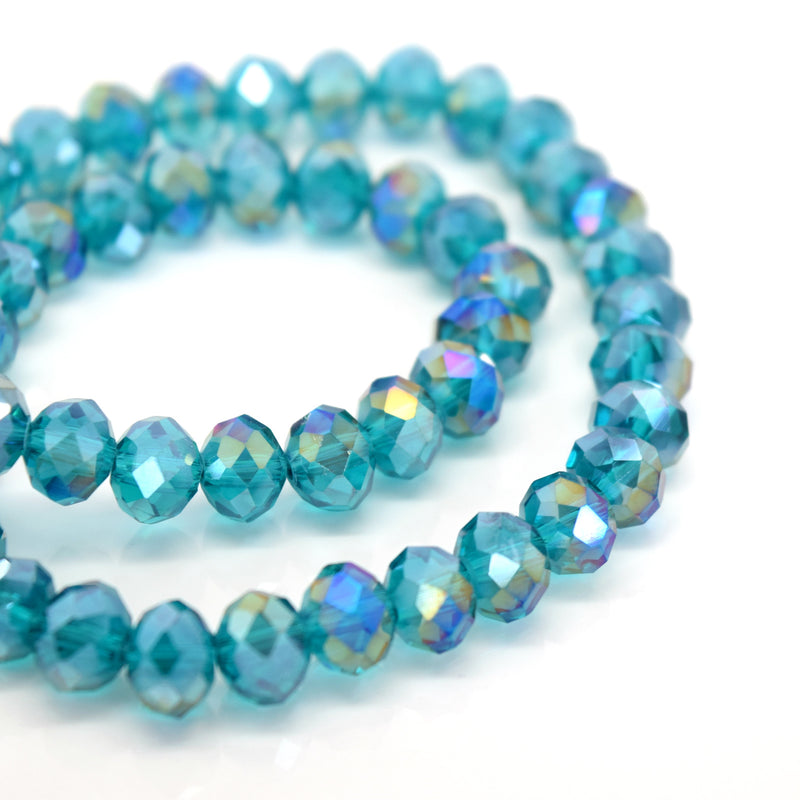 STAR BEADS: FACETED RONDELLE GLASS BEADS - TURQUOISE AB - Rondelle Beads