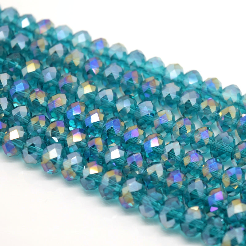 Faceted Rondelle Glass Beads - Turquoise AB