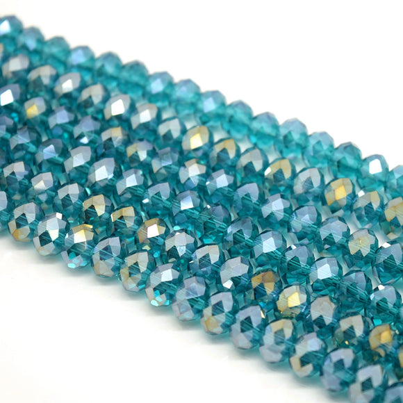 Faceted Rondelle Glass Beads - Turquoise Lustre
