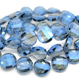STAR BEADS: 5 x Twist Disc Faceted Glass Beads 18x8mm - Grey / Metallic Blue - Round Beads