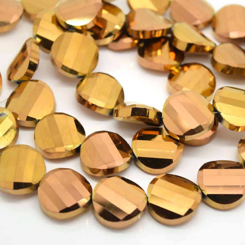 STAR BEADS: 5 x Twist Disc Faceted Glass Beads 18x8mm - Metallic Gold / Bronze - Round Beads