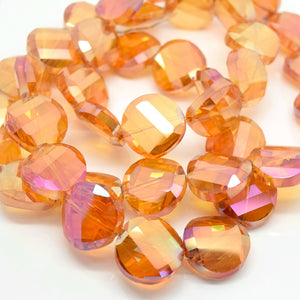 STAR BEADS: 5 x Twist Disc Faceted Glass Beads 18x8mm - Orange AB - Round Beads