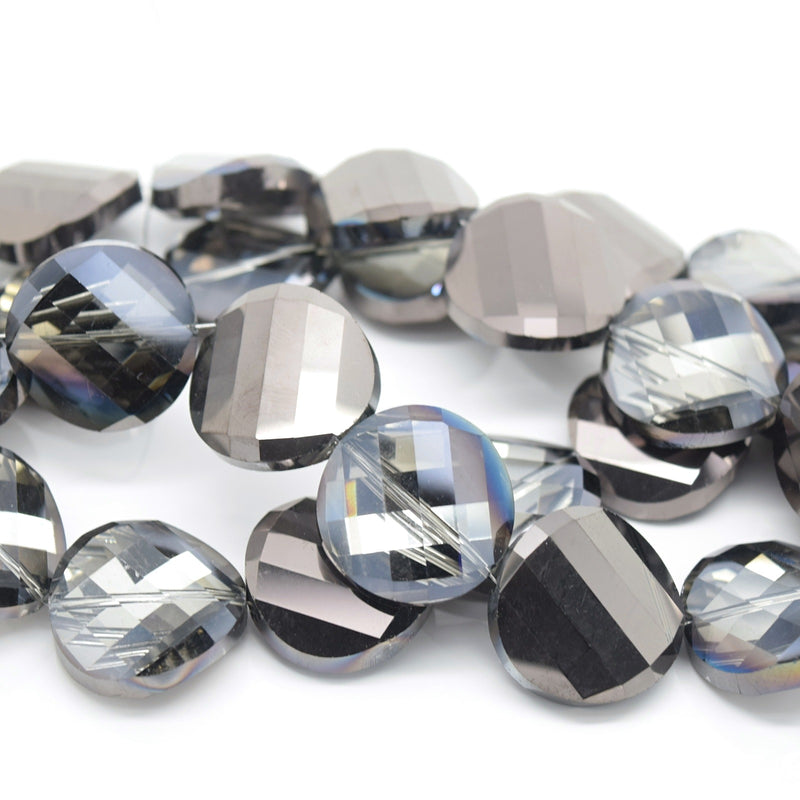 STAR BEADS: 5 x Twist Disc Faceted Glass Beads 22x8mm - Grey / Metallic Jet - Round Beads