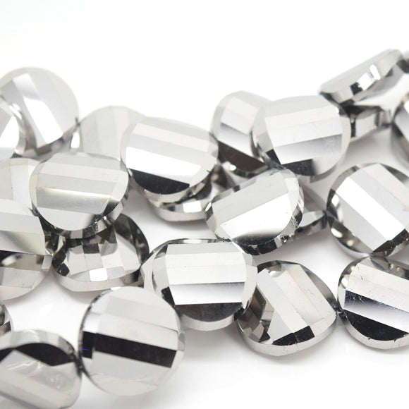 STAR BEADS: 5 x Twist Disc Faceted Glass Beads 22x8mm - Metallic Silver - Round Beads