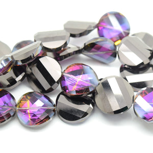 STAR BEADS: 5 x Twist Disc Faceted Glass Beads 22x8mm - Violet / Metallic Jet - Round Beads