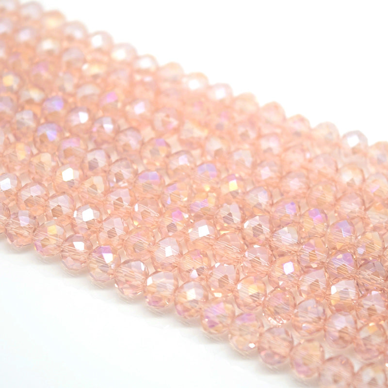 Faceted Rondelle Glass Beads - Vintage Rose AB