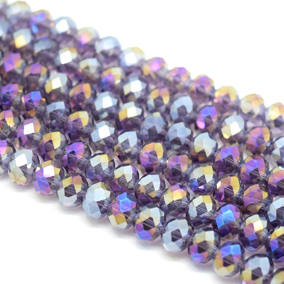 Faceted Rondelle Glass Beads - Violet AB