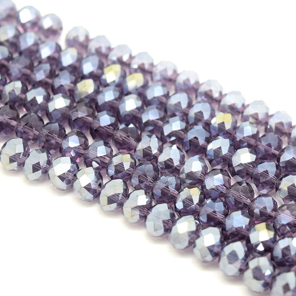 Faceted Rondelle Glass Beads - Violet Lustre