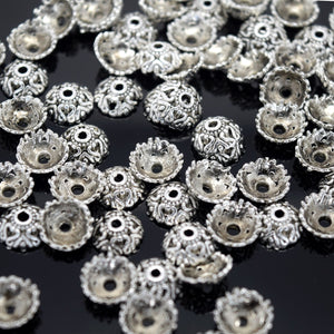 STAR BEADS: 100 X ZINC ALLOY ANTIQUE SILVER PLATED BEAD CAPS 9X4MM - Alloy Beads