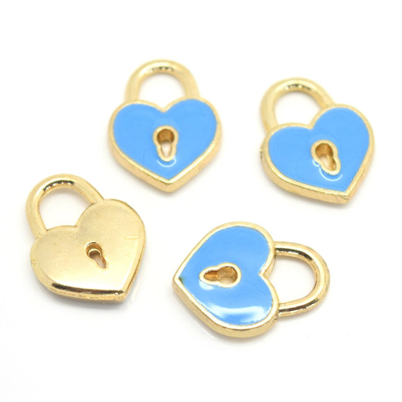 STAR BEADS: 4 x Enamel Alloy Pendant Charms - Heart Lock 15x12mm - Alloy Beads