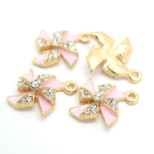 STAR BEADS: 4 x Enamel Alloy Pendant Charms - Pinwheel 21x15mm - Alloy Beads