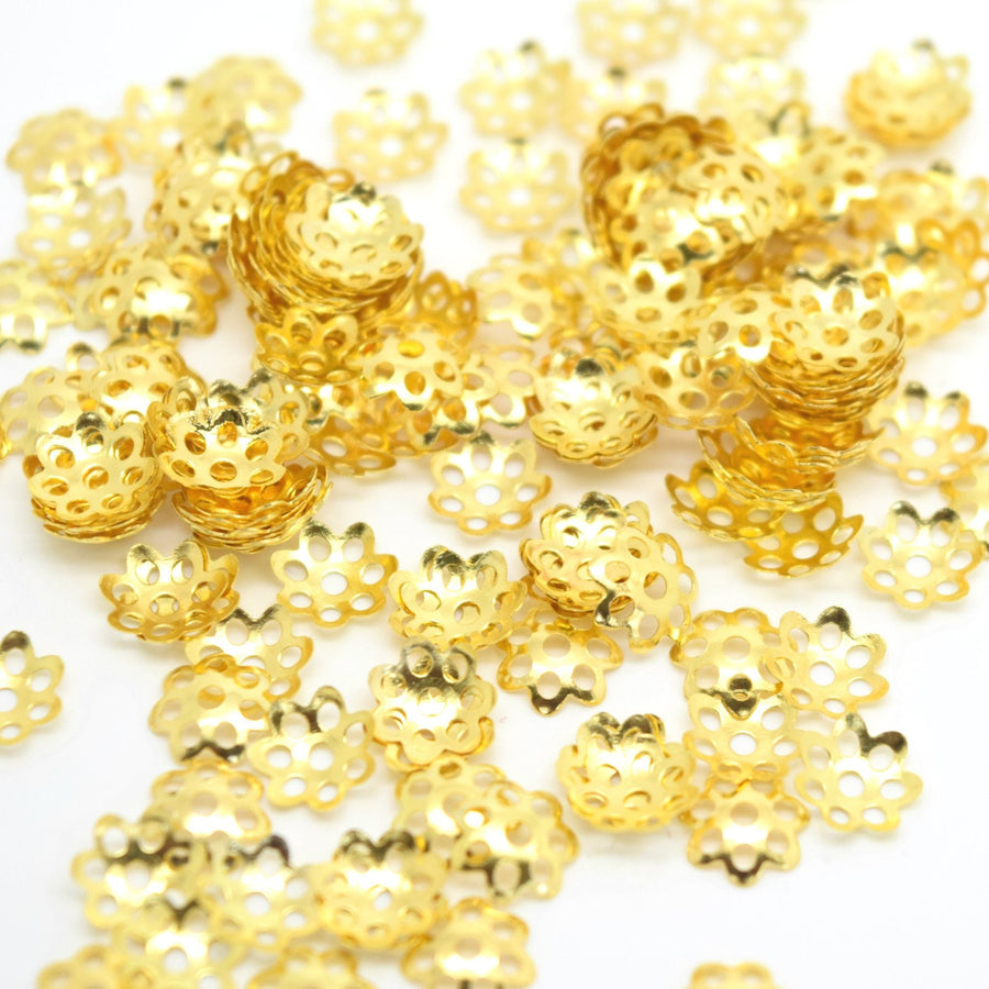 STAR BEADS: 500 x Iron Flower Bead Caps 6mm - Gold Plated - Bead Caps