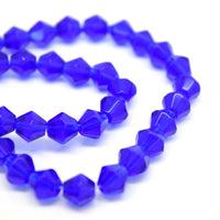 STAR BEADS: 100PCS HAND FACETED GLASS BICONE BEADS 6MM - ROYAL BLUE - Bicone Beads