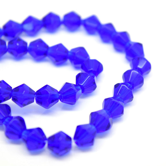 STAR BEADS: 100 x Hand Faceted Glass Bicone Beads 6mm - Royal Blue - Bicone Beads