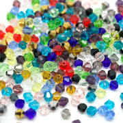 STAR BEADS: 500 FACETED BICONE GLASS BEADS MIXED COLOURS 4MM - Bicone Beads