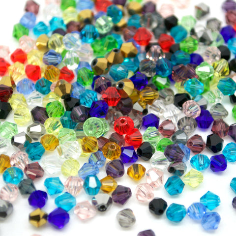 STAR BEADS: 500 FACETED BICONE CRYSTAL GLASS BEADS MIXED 4MM - Bicone Beads
